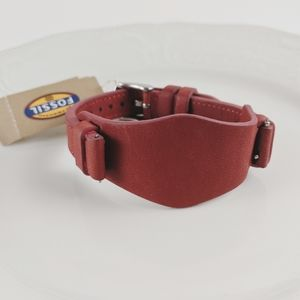 Fossil Brick Red Leather Watch Band Bracelet NWT